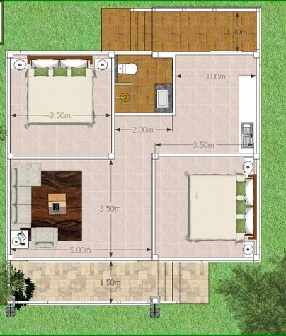 One-storey house plan with floor plan